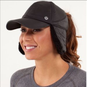 Lululemon What The Fluff Run Hat Black Quilted Fur
